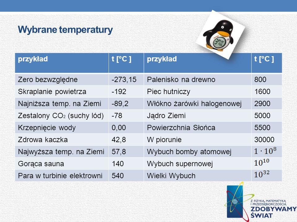 Wybrane temperatury przykład t [°C ] Zero bezwzględne -273,15